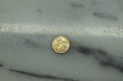 10K GOLD MINI COIN ROUND TOKEN EAGLE & LIBERTY DESIGN 9.8mm 0.3 GRAMS