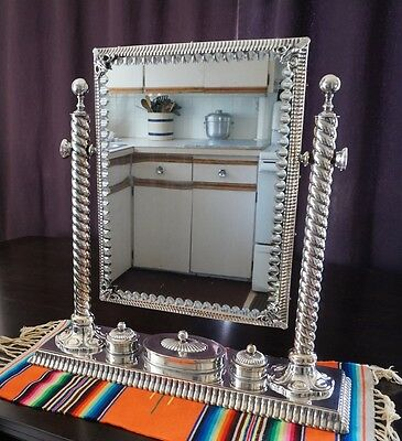 Rare Antique Silver Vanity Dresser Top Set with Cut Glass Mirror by GWS