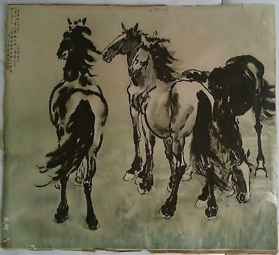 "China OLD CHINESE PAINTING, ""FOUR HORSES"" BY HSU PEI-HUNG"