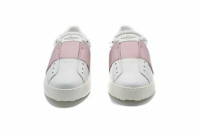 New~Valentino Women's Leather Patent Pink Band White Sneakers SZ 38 / 8 ~RTL$600