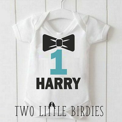 Personalised Name First Birthday Bow Tie Baby Baby Grow Vest Body Suit