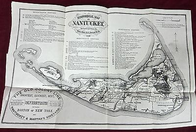 1869 historical map of nantucket - f. c. ewer - old colony railroad