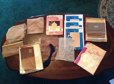 vintage stockings 11 pr, 8 are seamless, 3 seamed size 8 1/2, Neimarc Claussner