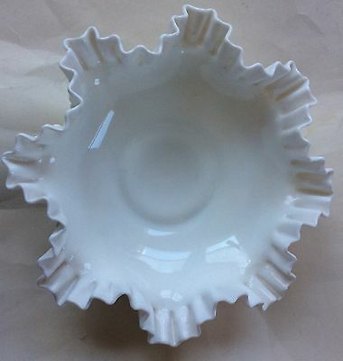 Vintage Fenton Ruffled Hobnail Large Milk Glass Bowl/Fenton Art Glass Bowl