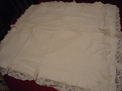 "Antique Vtg Pair 2 Cotton Euro Pillow Shams  29""x30"" Lace Edge Embroidered Inset"