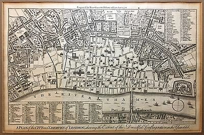 "Fire of London 1666—Antique Map—""City & Liberties of London""—Printed 1772"