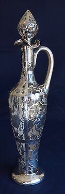 "STERLING SILVER OVERLAY glass decanter 16 1/2"" tall"