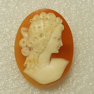 Vintage Carved Shell Cameo Brooch Pin Depicting Young Lady Bust.