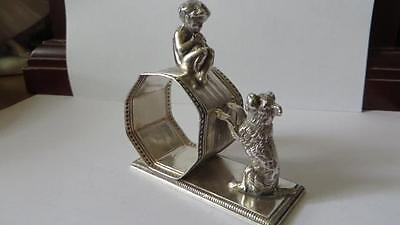 Victorian Silver Plated Napkin Ring Boy And Dog Meriden #31       #15