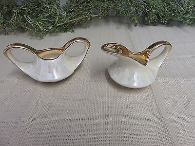 Vintage 1940's Pearl China Co. 22 kt Gold Trim Iridescent Sugar and Creamer Set