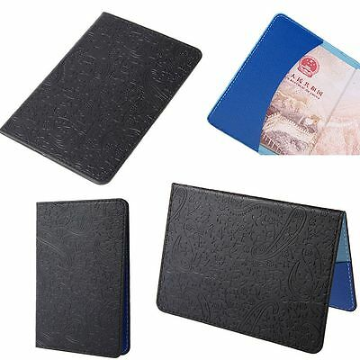 Package Travel PU Leather Protect Case Cover Passport Holder Lavender Pattern