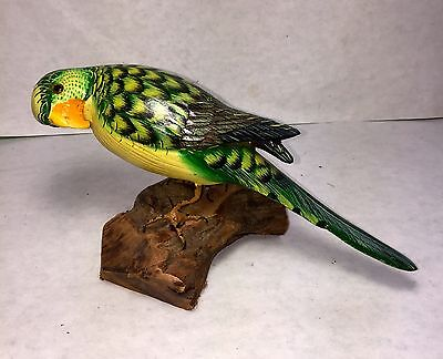 Wooden Bird Green  Parrot  Hand Carved And Hand Painted-8""