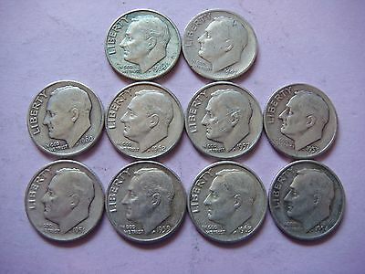 Lot of 10 Roosevelt  Dimes nice old coins 90% Silver   #9442