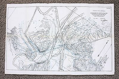 1908 Panama Canal Map Gatun New Railroad Location Chagres River ORIGINAL SURVEY