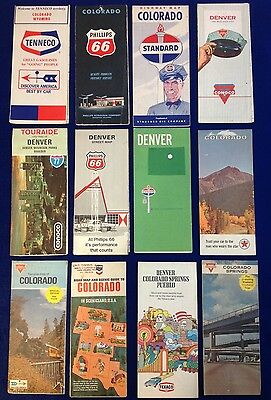 Gasoline Advertising Travel maps. Colorado. PhillipS. CONOCO. TEXACO. STANDARD.