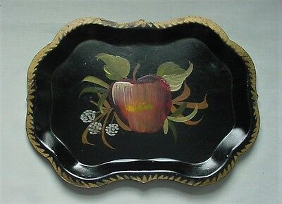 Sweet Vintage Tole Tin Tray Hand Painted Black With Apple