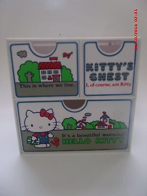 Vintage Hello Kitty 1976 SanRio Japan Kitty's Chest Trinket Box 3 Drawers Rare
