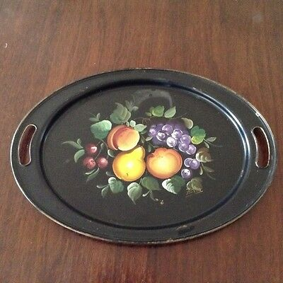 Vintage hand painted tole tray, signed by artist