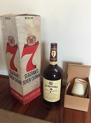 1975 Large -1 Gallon Seagrams 7 Bottle - Unused Pump Dispenser - Original Box