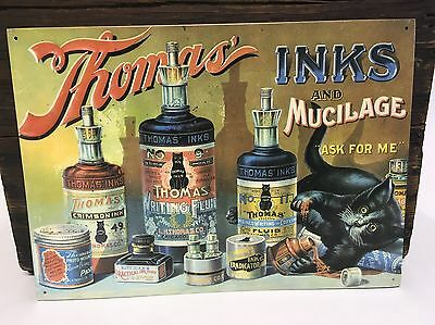 "Thomas' Inks AND Mucilage Metal Sign 16"" x 11-1/4""  1993 Reproduction"
