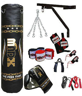 MADX 15 Piece Boxing Set 4ft Filled Heavy Punch Bag Gloves,Chains,Bracket,Kick