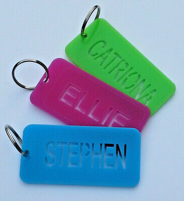 Personalised Keyring Name Tag Luggage Holdall Schoolbag Kids Back To School Fob