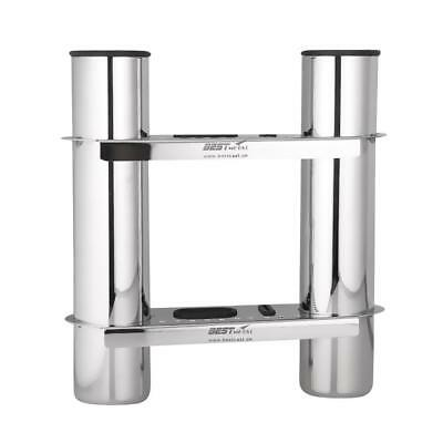 Marine 316 Stainless Steel Fishing 2 Rod Holder Rack Lure Storage for Boat