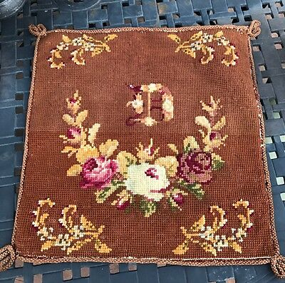 "Antique Vintage Monogrammed Needlepoint ""D"" 15"" Braid Trim Embroidery Tapestry"