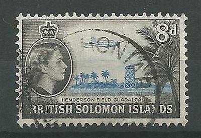SOLOMON ISLANDS 1956-63 SG90 8d Bright Blue and Black Good Used