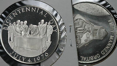 Two (2) Sterling Silver Medal - First Man in Space/BiCentennial Day