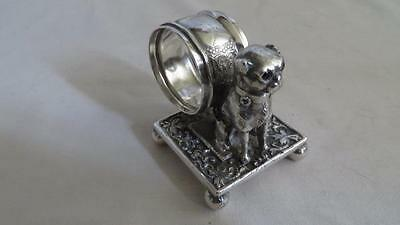 Victorian Silver Plated Napkin Ring Sitting Pug Dog Roger Bros. #208        #20
