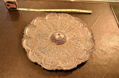 """10 7/8"""" 950 Sterling Silver Persian Middle Eastern Filigree Tray Platter Plate"""