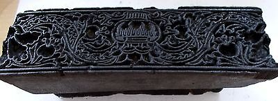 VINTAGE WOOD HAND-BLOCK INDIA STAMP-TEXTILES or WALLS-CARVED