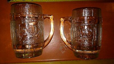 ( 2 ) Dad's Vintage Root Beer Barrel Handled Mugs Heavy Clear Glass Float