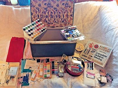 Fully Loaded Vintage Hawkeye-Burlington Basket Co Sewing Box 60s Danish Modern