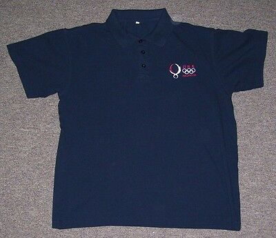 USA Beijing Olympics Blue polo shirt 100% Cotton men's size LARGE