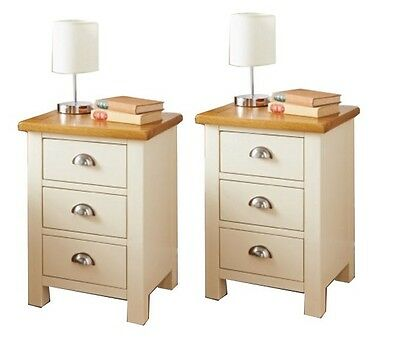 2 Pair Set Elegant Cream Solid Wooden 3 Drawer Bed Side Table Cabinet Chest Lamp