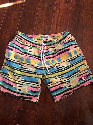 Vintage 80's New Wave Tropicalia Swim Trunks L