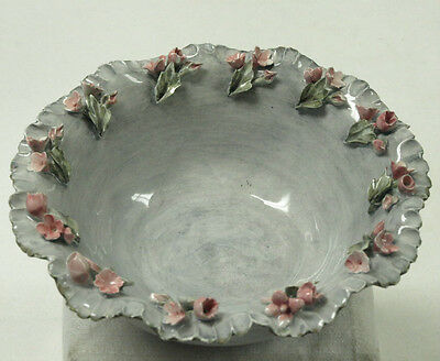 Vintage Gray Porcelain Bowl With Enamel Roses On Edge Stamped W.p. W/markings