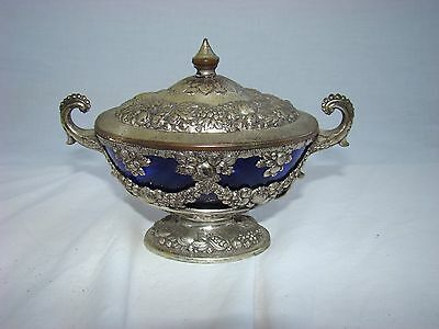 Vintage Silverplate and Cobalt Blue Glass Covered Bowl - Japan