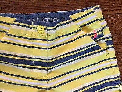 NAUTICA Boys SIZE 5 Yellow Blue White striped Spinnaker shorts Adjustable waist