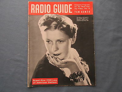 1940 RADIO GUIDE Magazine with Bess Johnson Cover and Log of American Stations