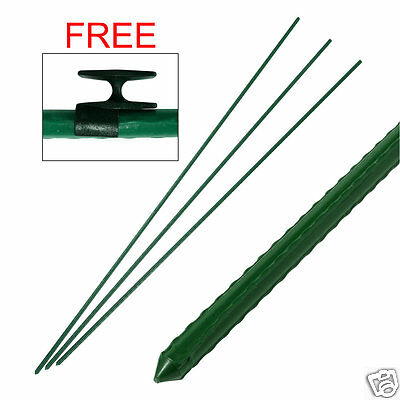 5 x Green Plastic Covered Metal Garden Fencing Plant Support Stakes Posts - 1.2m