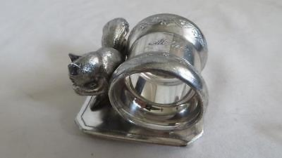 Victorian Silver Plated Napkin Ring Squirrel eating nut  Roger Bro.#256   #25