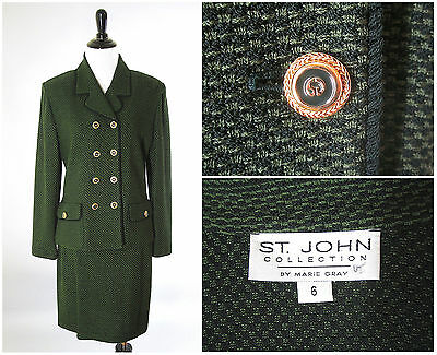 ST JOHN COLLECTION Green Double Breasted Skirt Suit Jacket Size 4 6