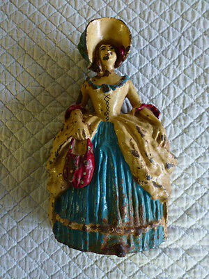 Vintage Antique Littco Pa Cast Iron Door Stop Victorian Woman  Rare