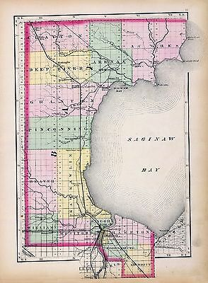 1873 Winchel MAP atlas  poster of Michigan Bay County 30