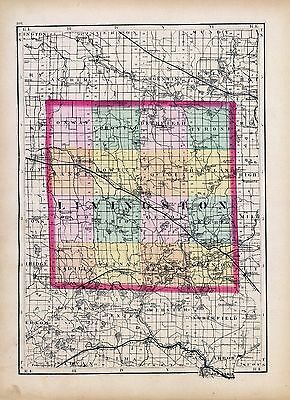 1873 Winchel MAP atlas  poster of Michigan Livingston County 55