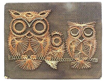 Vintage Mid Century Copper Wire Art OWLS Wall Plaque 1970s