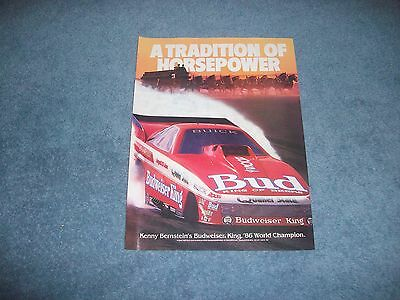 1987 Budweiser Beer Vintage Ad with Kenny Bernstein Bud King Funny Car